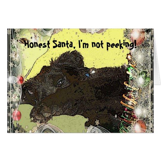 Tarjeta de Navidad del perrito de Terranova