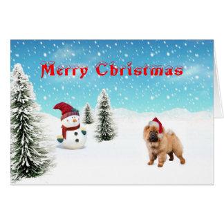 Tarjeta de Navidad del perro chino de perro chino