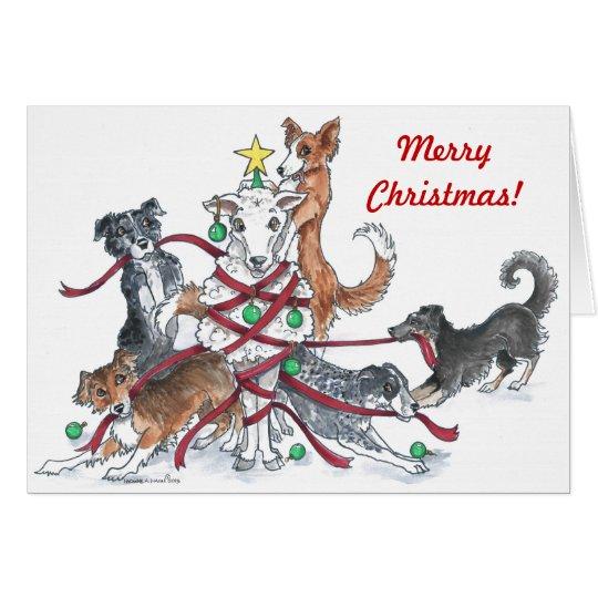Tarjeta de Navidad del perro de ovejas