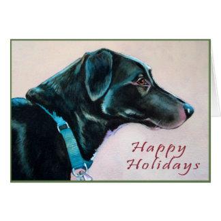Tarjeta de Navidad del perro negro