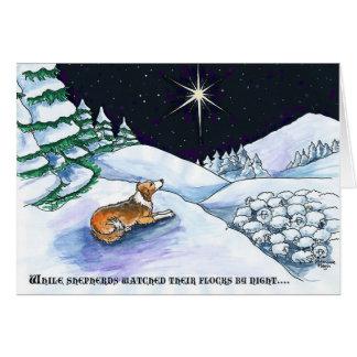 Tarjeta de Navidad del perro pastor del Sable