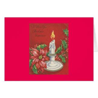 Tarjeta de Navidad del Poinsettia del vintage