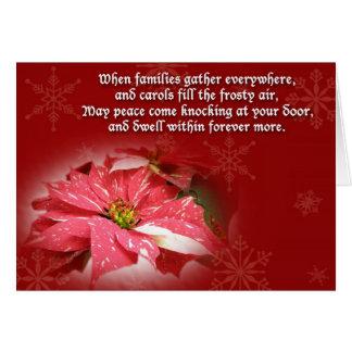 Tarjeta de Navidad del Poinsettia y del poema