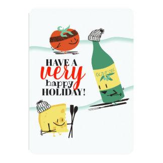 Tarjeta de Navidad del queso del aceite de oliva
