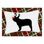 Tarjeta de Navidad del reno del dogo francés