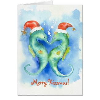 Tarjeta de Navidad del Seahorse de la acuarela