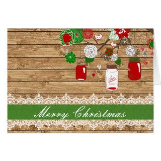 Tarjeta de Navidad del tarro de albañil del