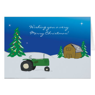 Tarjeta de Navidad del tractor: Escena del granero