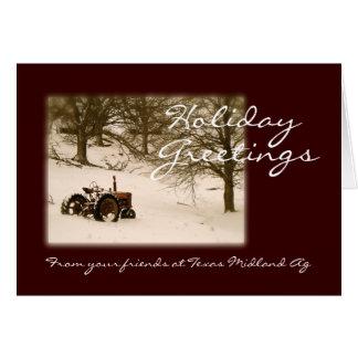 Tarjeta de Navidad del tractor para el negocio o