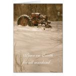 Tarjeta de Navidad del tractor: Paz para todos los
