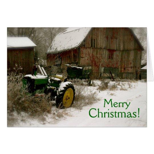 Tarjeta de Navidad del tractor: Tractor y carro