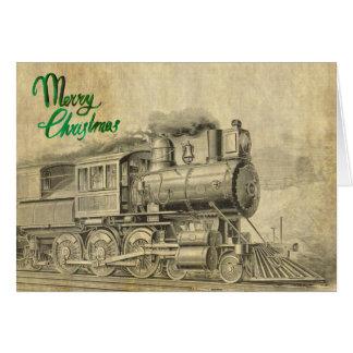 Tarjeta de Navidad del tren del vapor del vintage