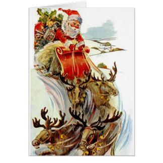 Tarjeta de Navidad del trineo de Santa y del reno