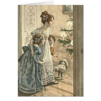 Tarjeta de Navidad del Victorian - familia