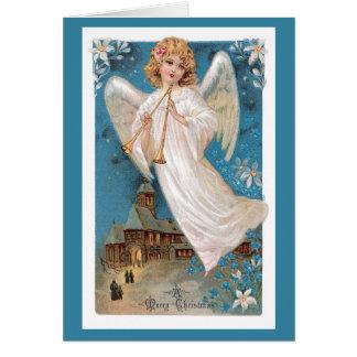 Tarjeta de Navidad del vintage - ángel de las