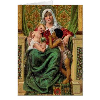 Tarjeta de Navidad del vintage de Jesús del bebé