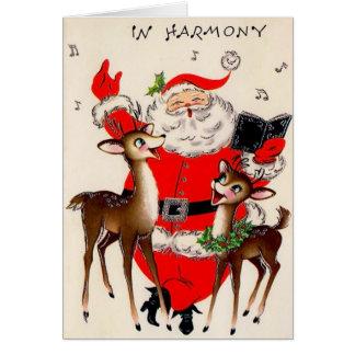 Tarjeta de Navidad del vintage de la armonía de
