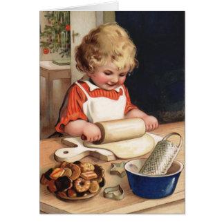 Tarjeta de Navidad del vintage de las galletas del