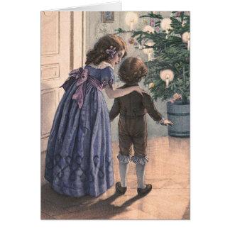 """Tarjeta de Navidad del vintage """"del árbol de navid"""