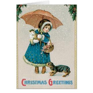Tarjeta de Navidad del vintage - mascotas