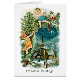 Tarjeta de Navidad del vintage - saludos del