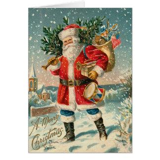 Tarjeta de Navidad del vintage Santa