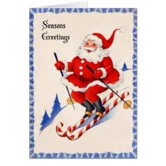 Tarjeta de Navidad del vintage - Santa en los
