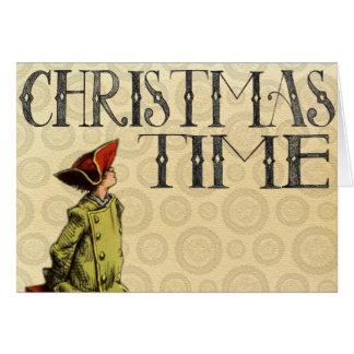 """Tarjeta de Navidad del vintage """"tiempo del navidad"""