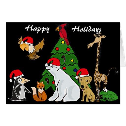 Tarjeta de Navidad divertida de los animales de