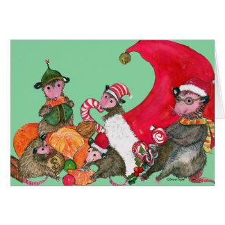 Tarjeta de Navidad divertida de los oposums,
