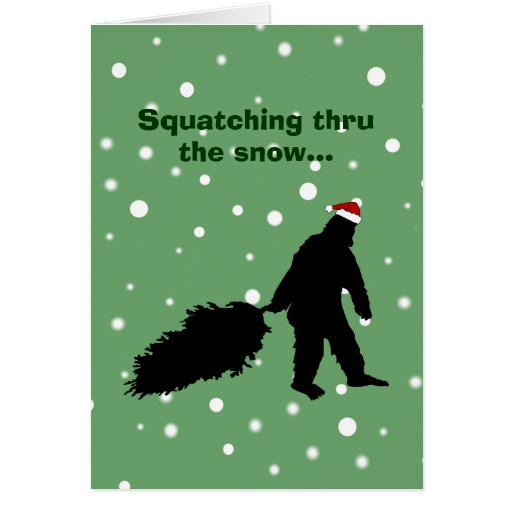 Tarjeta de Navidad divertida de Sasquatch que tira