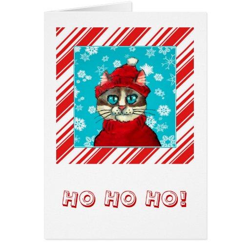 Tarjeta de Navidad divertida del gato de Santa