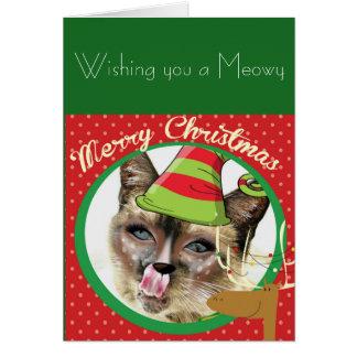 Tarjeta de Navidad divertida del gato siamés
