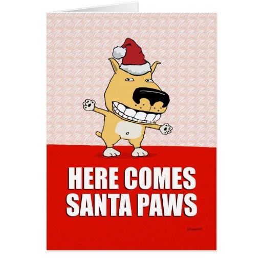 Tarjeta de Navidad divertida del perro de las pata