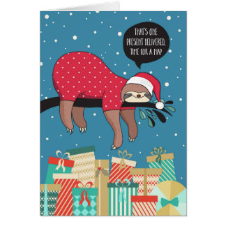 Tarjeta de Navidad divertida - la pereza Santa