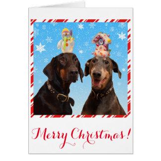 Tarjeta de Navidad divertida, linda del perro del