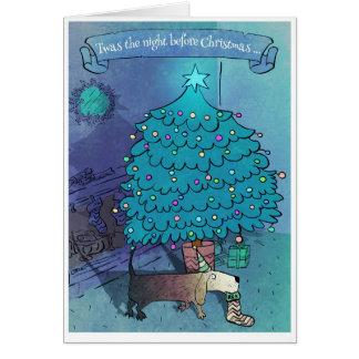 Tarjeta de Navidad divertida linda poética
