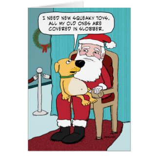 Tarjeta de Navidad divertida: Perro y Santa