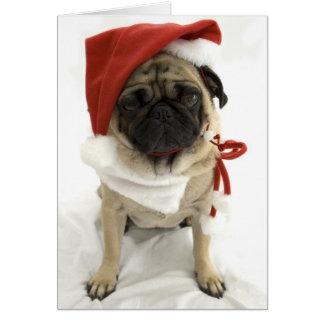 Tarjeta de Navidad divertida - Puggy