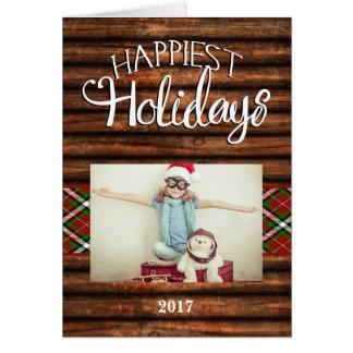 Tarjeta de Navidad doblada foto más feliz rústica