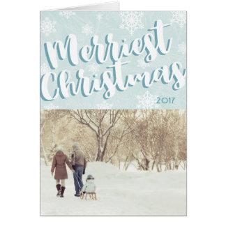 Tarjeta de Navidad doblada más feliz simple Nevado
