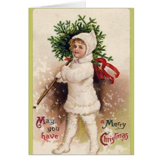 Tarjeta de Navidad dulce del día de fiesta del chi