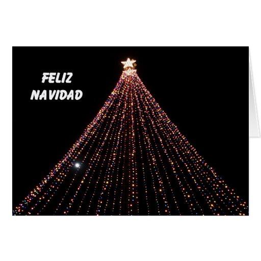 Tarjeta de navidad espa ola rbol de luces zazzle - Luces arbol navidad ...
