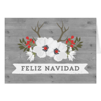 Tarjeta de Navidad española de las astas de madera