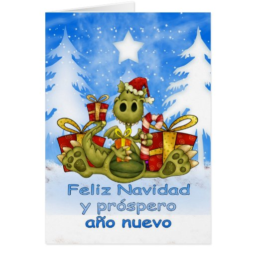 Tarjeta de Navidad española - dragón lindo - Feliz
