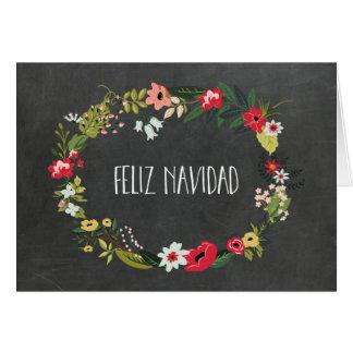 Tarjeta de Navidad española floral del vintage de
