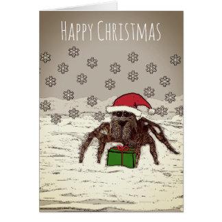 Tarjeta de Navidad feliz de la araña con nombre