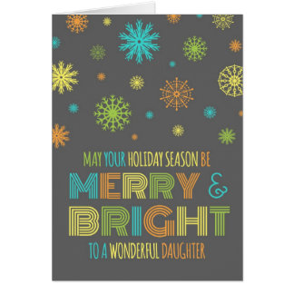 Tarjeta de Navidad feliz y brillante de la hija co