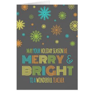 Tarjeta de Navidad feliz y brillante del profesor