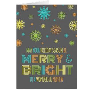 Tarjeta de Navidad feliz y brillante del sobrino c